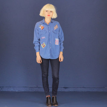 Blue Button Up Shirt with Retro Patches - Warhol - M