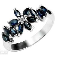 925 Sterling Silver Natural Sapphire Ring Female