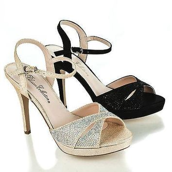 Ella5 By Blossom, Cut Out Peep Toe Rhinestone Sling back Low Platform Stiletto Heels