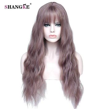 """26"""" Long  Wigs with Bangs Heat Resistant Synthetic Kinky Curly Wigs"""