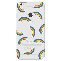 Clear Phone Case with an Rainbow Collage