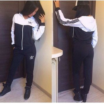 """ADIDAS"" The new women's sports leisure suit Black"