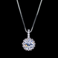 Round Swiss Diamond Pendant Necklace
