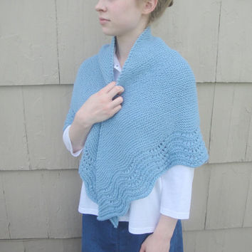 Lace Edged Shawl, Hand Knit, Pale Blue, Prayer Shawl Wrap