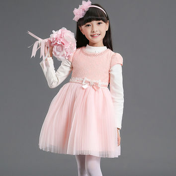 High Quality Flower Girl Autumn White Princess Wedding Dress Knee Length Tulle Pearl Gauze Toddler Girl Dress With Shrugs