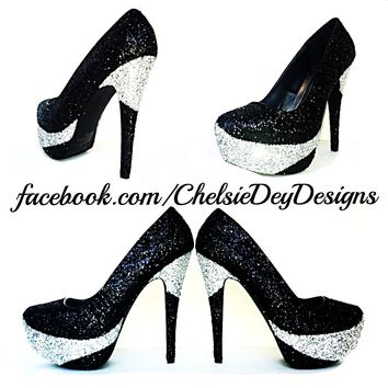 Black Glitter Platform Pumps, Black Silver Prom High Heels