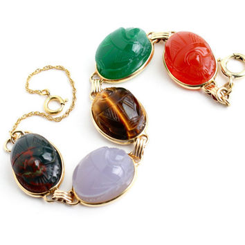Vintage Scarab Bracelet - Gold Filled Semi Precious Stone Statement Egyptian Revival Jewelry... Tiger's Eye, Carnelian.. / Carved Beetles