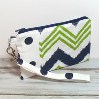 Womens Clutch - Navy Blue and Green - Chevron Clutch - iPhone Wristlet - Navy Polka Dots - Clutch Purse - Wristlet Purse - Cell Phone Clutch
