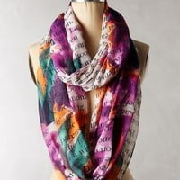 Gazette Infinity Scarf by Anthropologie Purple Motif One Size Scarves