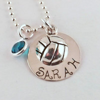 Personalized Volleyball Charm Necklace