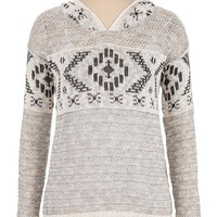 Long Sleeve Patterned Sweater With Hood - Beige