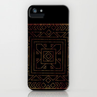 Geometric I - Black on Wood iPhone & iPod Case by CAPow!