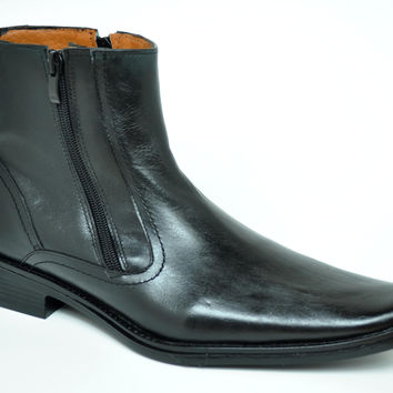 Baronett Men's Dress Ankle Dual Zip Black Genuine Leather Boots