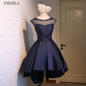 ENGERLA 395 Satin High Low Bridesmaid Dresses With Appliques 2017 Scoop Neck Wedding Party Gowns Lace Up Red Navy Blue