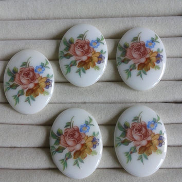 pink rose  flower  porcelain cameos - pink rose flower cabochons 40x30mm - set of 5