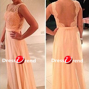 Long Formal Prom Dress - Lace Prom Dresses / Long Party Dress / Lace Prom Dresses / Evening Dress Lace / Champagne Prom Dress