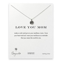 love you mom rose necklace, sterling silver