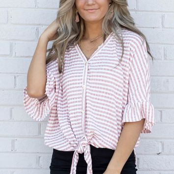 Love Club Mauve Striped Ruffle Top