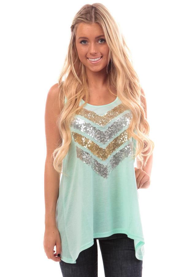 776587d622f Mint Sequin Embellished Chevron Tank Top from Lime Lush Boutique