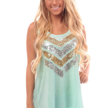 Mint Sequin Embellished Chevron Tank Top