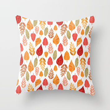 Painted Autumn Leaves Pattern Throw Pillow by Tanyadraws