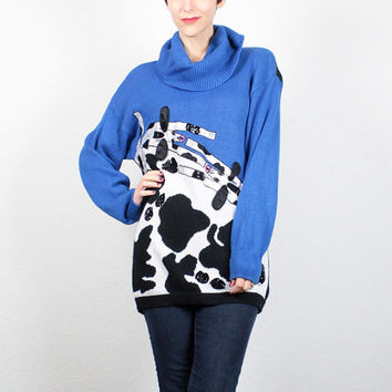 Vintage 80s Sweater Cobalt Blue Black White COW Print Sweater 1980s Cowl Neck Jumper Sequin Beaded Applique Novelty Sweater M Medium L Large