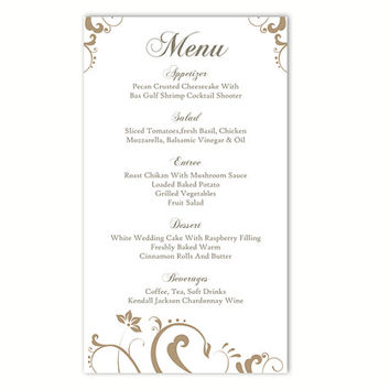 Wedding Menu Template DIY Menu Card Template Editable Text Word File Instant Download Gold Menu Floral Menu Template Printable Menu 4x7inch