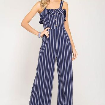 Striped Jumpsuit with Buttons - Navy