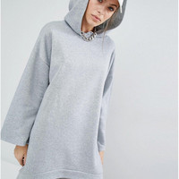 Gray Long Sleeve Hooded Sweater Dress
