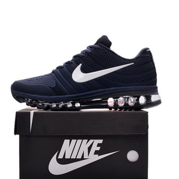 NIKE AIR MAX Fashion Sport Casual Shoes Sneakers Dark blue-white hook H-CSXY