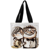 Carl and Ellie disney pixar up white - Totebags