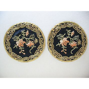 Golden Cloud Chinese Round Black Fabric Gold Embroidery Floral Doily In Pair