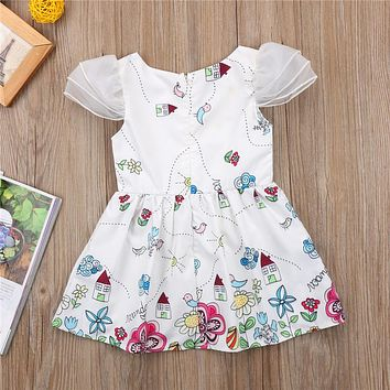 Princess Toddler Kids Girls Dress New Cute Ruffles Sleeve Floral Pageant Party Dresses Fly-sleeve Children Dresses
