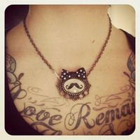 Pin up Tattoo mustache necklace by MissCats on Etsy