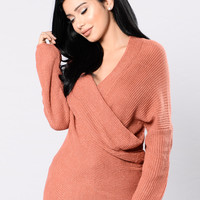 Bundle Me Up Sweater - Marsala