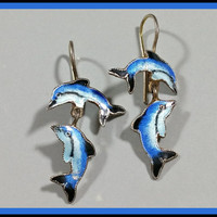 Vintage Enamel on Sterling Silver Dolphin Earrings With Hooks Double Dolphins 2 Per Earring Bright Blues Bold Colors Standout Fun Earrings