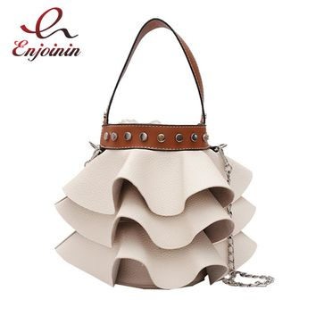 Fashion wave white pu leather casual exclusive style bucket bag ladies handbag chain purse totes female crossbody messenger bag