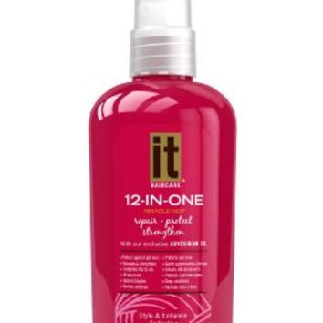 Hair Mist 12 in One Miracle Mist by IT Haircare, Repair Protect Strengthen Miracle Mist with exclusive Abyssinian Oil, Protects split ends, Protects your color, Removes Tangles, Guards against curling and flat irons, Deep Conditions, Transforms frizz to Si