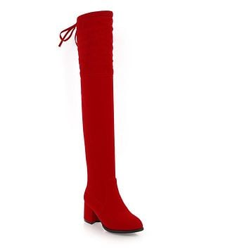 Suede Tall Boots Winter Shoes for Woman 6917