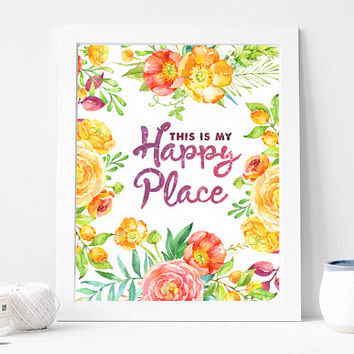 This is my Happy Place Print Aquarelle Flowers Poster, Floral Wreath, poster watercolour flower Printable Watercolour DOWNLOAD