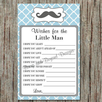 Mustache Baby Shower Games Wishes for the Little Man Baby Boy Instant Download Printable Powder Blue Grey 066