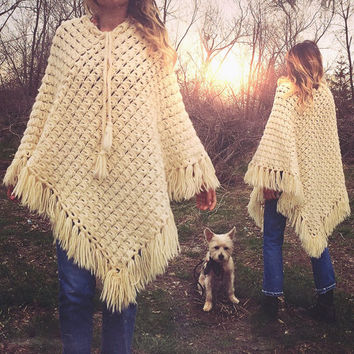 Vintage 1970's Crochet Wool Fringe Poncho Cape    One Size Fits All