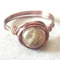 Cherry Quartz ring/Yellow Cherry Quartz/wire wrap ring/gifts under 15/boho ring/simple ring/antique copper ring/gemstone bead ring/Quartz