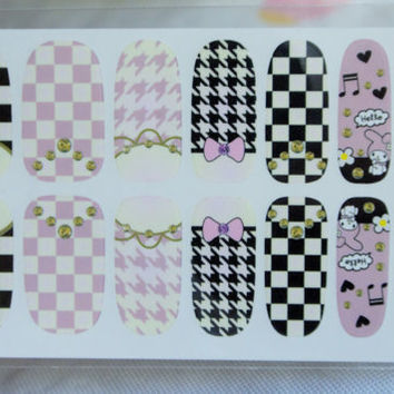 Lolita nails, checkered nails, houndstooth nails, sanrio nail wrap, nail art design, Diy Nail art Decoration