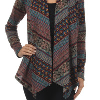 Draped Open Front Tribal Print Cardigan