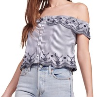 Kaelin Stripe Off-the-Shoulder Top