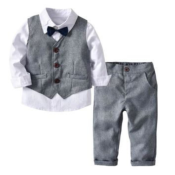 Toddler Boy Clothes Formal Kids Autumn Suit Children'S Wear Grey Vest + Shirt + Trousers Boys Outfit Baby Clothes 2 3 4 5 6 Y