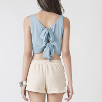 Blue Tank Top - sleeveless crop top | UsTrendy