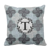 Shades Of Gray Teal Floral Outdoor Pillow
