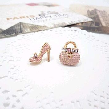 Earrings | Pink Bags Heels Shoe Asymmetric Earrings